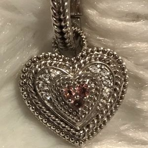 Judith Ripka sterling and Diamonique heart